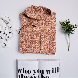 Animal print cheetah crew turtle neck shirt